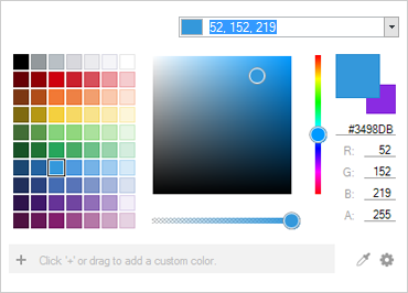 Dropdown color picker presents system colors, customized palettes and more.