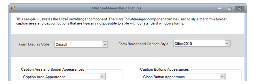 フォーム マネージャー infragistics ultimate ui for windows forms