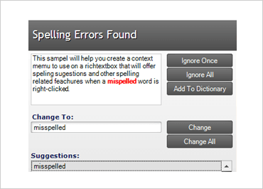 Identify misspellings in text all while providing suggested correct spellings.