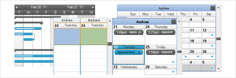 View the schedule in 6 viewable ways - line, day, week, month, multi-month, or any combination.